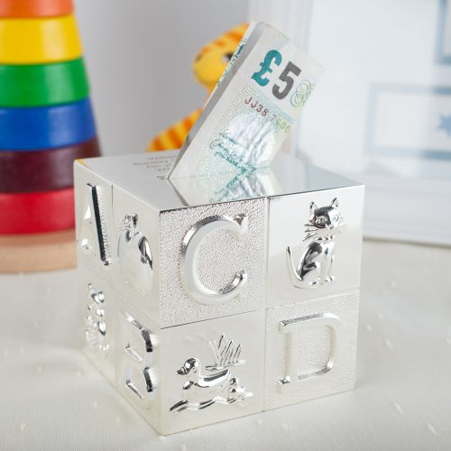 Picture of: Engraved Silver Cube ABC Money Box | Secret Santa Generator Gifts