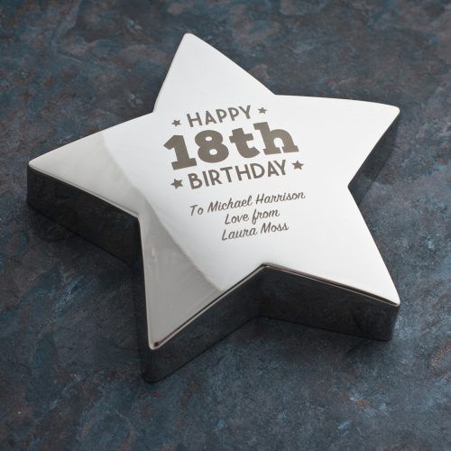 Picture of: Engraved '18th Birthday' Silver Star Paperweight | Secret Santa Generator Gifts