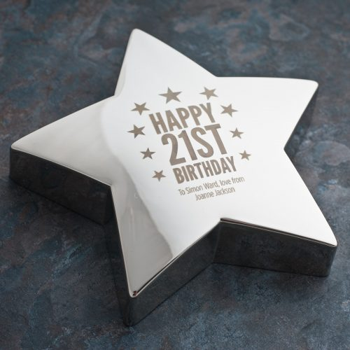 Picture of: Engraved '21st Birthday Stars' Silver Star Paperweight | Secret Santa Generator Gifts