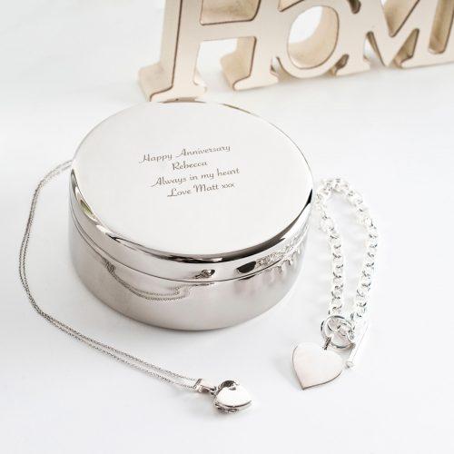 Picture of: Engraved Circular Trinket Box | Secret Santa Generator Gifts