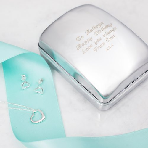 Picture of: Engraved Jewellery Box With Sterling Silver Heart Necklace & Earrings | Secret Santa Generator Gifts