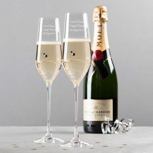 Picture of: Engraved Swarovski® Crystal Champagne Flutes - Swirls | Secret Santa Generator Gifts