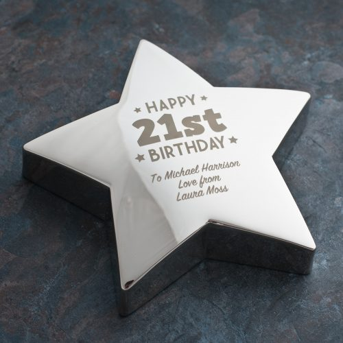 Picture of: Engraved '21st Birthday' Silver Star Paperweight | Secret Santa Generator Gifts