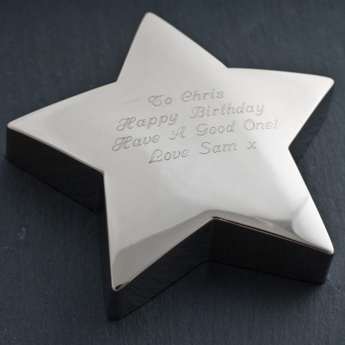 Picture of: Engraved Silver Star Paperweight | Secret Santa Generator Gifts