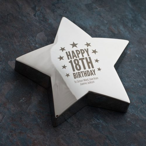 Picture of: Engraved Silver Star Paperweight - 18th Birthday | Secret Santa Generator Gifts