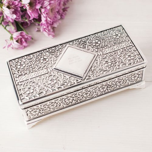 Picture of: Antique Finish Silver-Plated Jewellery Box | Secret Santa Generator Gifts