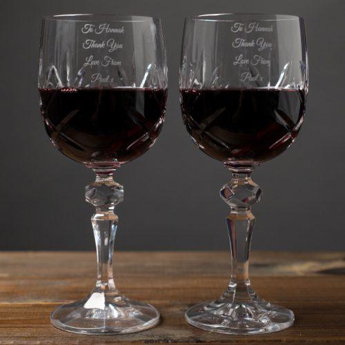 Picture of: Personalised Cut Crystal Wine Glasses | Secret Santa Generator Gifts