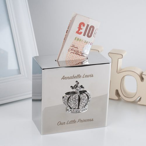 Picture of: Engraved Square Money Box - Crystal Crown | Secret Santa Generator Gifts