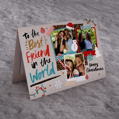 Picture of: Photo Upload Christmas Card - Best Friend In The World | Secret Santa Generator Gifts