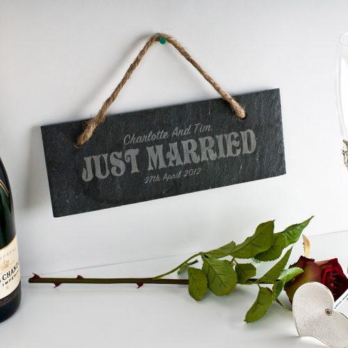 Picture of: Engraved Just Married Hanging Slate Sign | Secret Santa Generator Gifts
