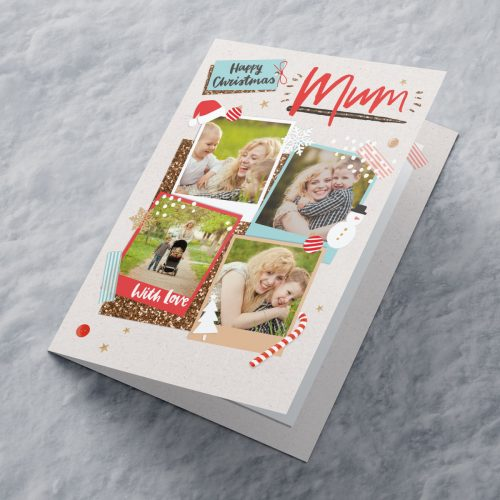 Picture of: Multi Photo Upload Christmas Card - Four Photos Mum | Secret Santa Generator Gifts