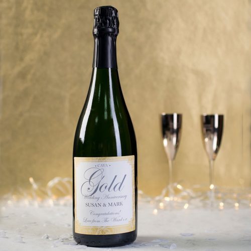 Picture of: Personalised Cava - Gold Anniversary | Secret Santa Generator Gifts