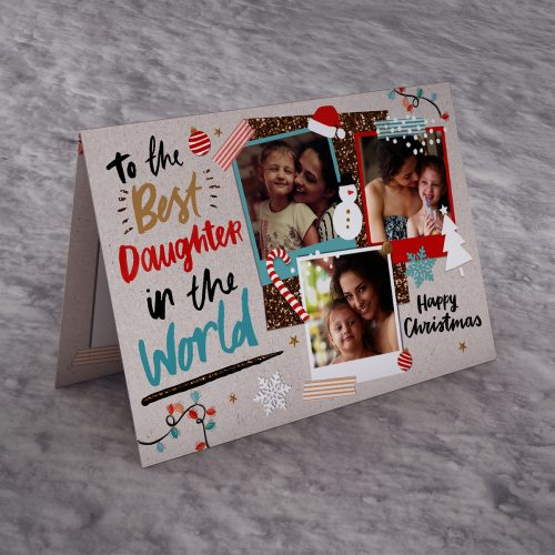Picture of: Christmas Multi Photo Upload Card - Best Daughter In The World | Secret Santa Generator Gifts