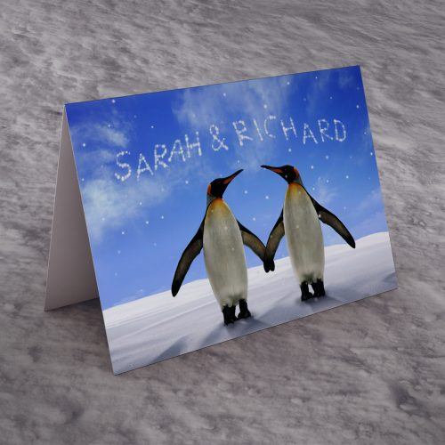 Picture of: Personalised Christmas Card - Loving Penguins | Secret Santa Generator Gifts