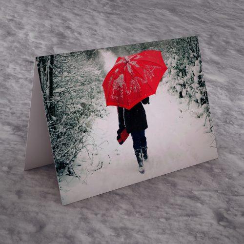 Picture of: Personalised Christmas Card - Snow Umbrella | Secret Santa Generator Gifts